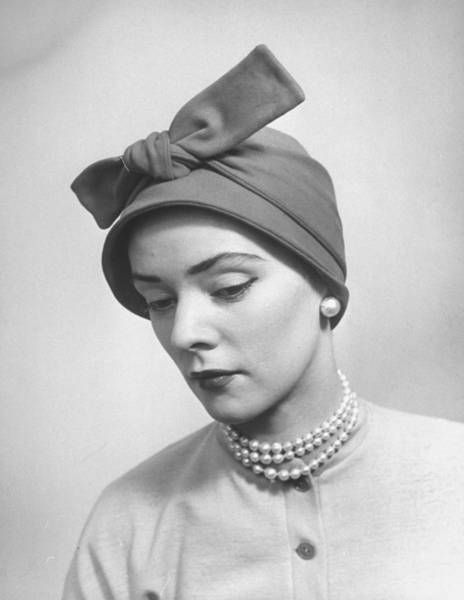 Photograph - A Model Posing In A Bonnet Styled Hat Wi by Nina Leen