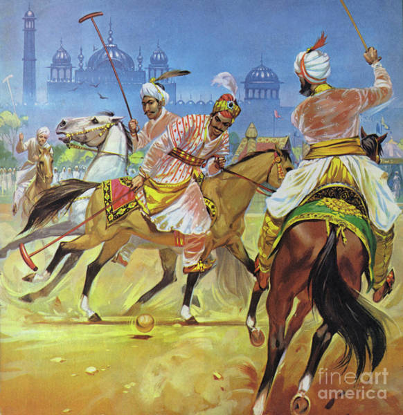 Wall Art - Painting - A Moghul Emperor Playing Polo by Angus McBride