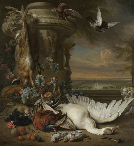 Painting - A Monkey And A Dog Beside Dead Game And Fruit by Jan Weenix
