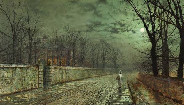Wall Art - Painting - A Moonlit Evening Atkinson Grimshaw by Celestial Images
