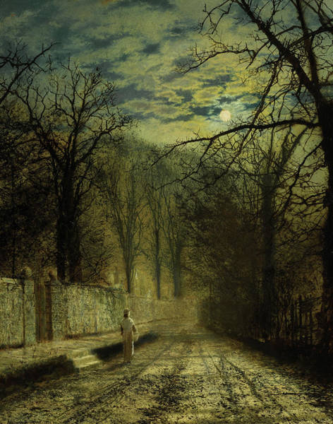 Wall Art - Painting - A Moonlit Street, 1880 by John Atkinson Grimshaw