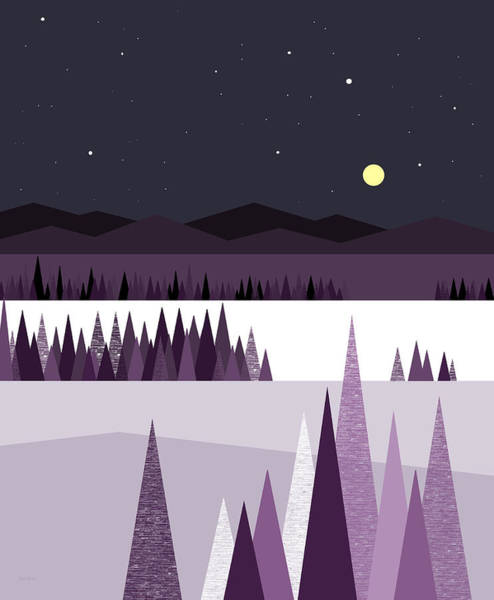 Semis Digital Art - A Moonlit Winter Night by Val Arie