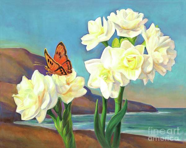 Amaryllis Painting - A Morning Greeting From Narcissus Flowers by Svitozar Nenyuk