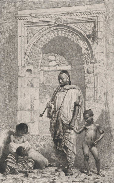 Relief - A Moroccan Family In Front Of An Arch, Father Standing, by Maria Fortuny