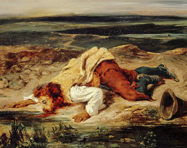 Wall Art - Painting - A Mortally Wounded Brigand Quenches His Thirst, 1825 by Eugene Delacroix