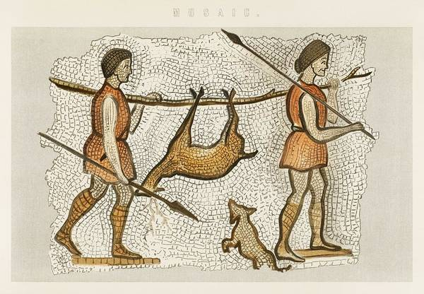 Wall Art - Painting - A Mosaic Illustration Of Hunter Gatherers Taken From William Mackenzie S National Encyclopaedia  189 by Celestial Images