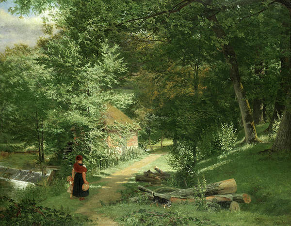 Mother Road Wall Art - Painting - A Mother And Child On A Wooded Path Before A Watermill by William Frederick Witherington