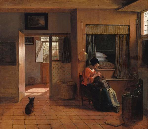 Hair Of The Dog Wall Art - Painting - A Mother Delousing Her Child's Hair, Known As 'a Mother's Duty'. Interior With A Mother Delousing... by Pieter De Hooch