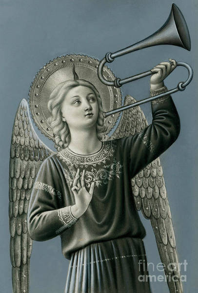 Wall Art - Painting - A Musician Angel Playing Trombone  by Italian School