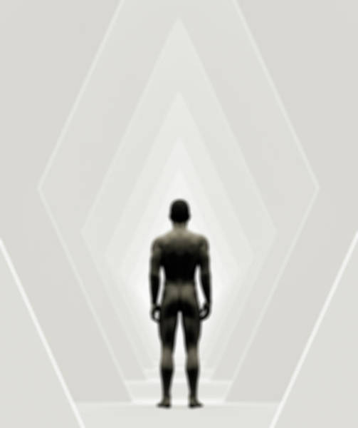 Naked Digital Art - A Naked Man Standing In A Futuristic by Jorg Greuel