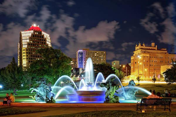Country Club Plaza Photograph - A Night At J.c. Nichols Memorial Fountain - Kansas City Plaza by Gregory Ballos