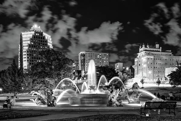 Country Club Plaza Photograph - A Night At J.c. Nichols Memorial Fountain - Kansas City Plaza - Monochrome by Gregory Ballos