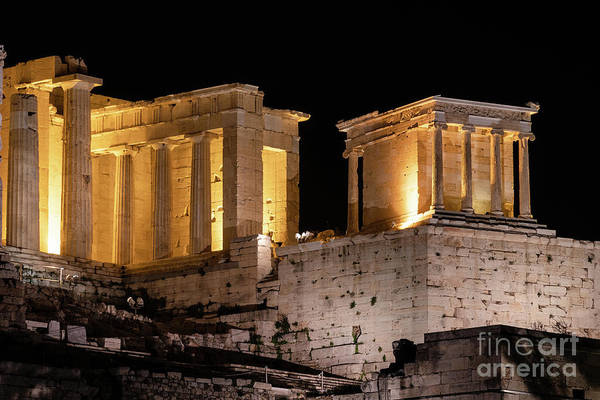 Photograph - A Night View Of Acropolis In Athens, Greece by Didier Marti