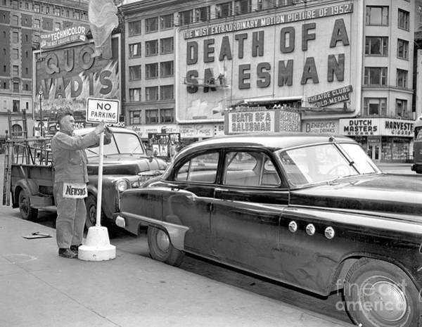 Parking Photograph - A No Parking Sign Is Posted At by New York Daily News Archive