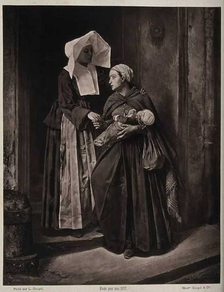 Wall Art - Painting - A Nurse Bidding Farewell To A Poor Woman Leaving Hospital With Her New Baby. Woodburytype By Goupil  by Celestial Images