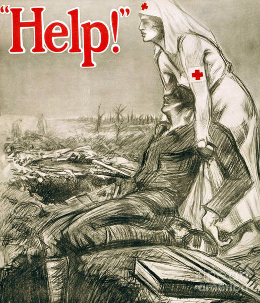 Wall Art - Painting - A Nurse Wearing The Red Cross On Her Clothing Helps A Wounded Soldier by English School