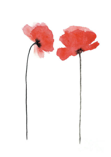 Wall Art - Painting - A Pair Of Poppies Facing Inwards by Joanna Szmerdt