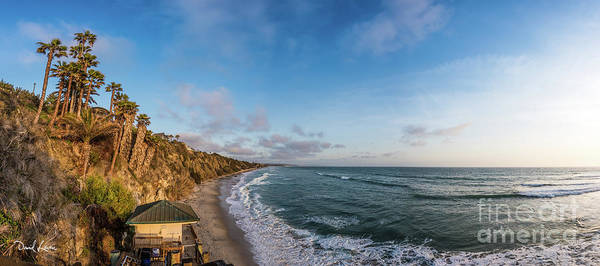 Photograph - A Panoramic View Of Swami's Beach With Cliffs At Sunset by David Levin