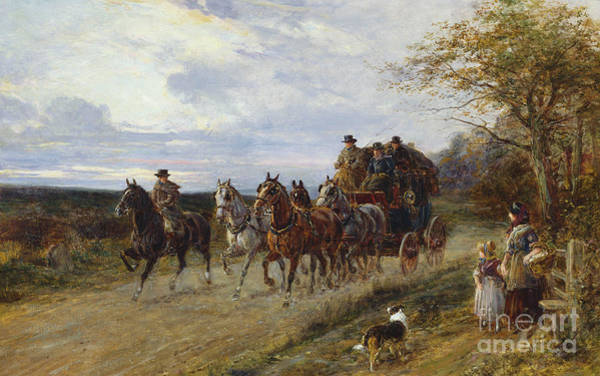 Wall Art - Painting - A Passing Coach by Heywood Hardy