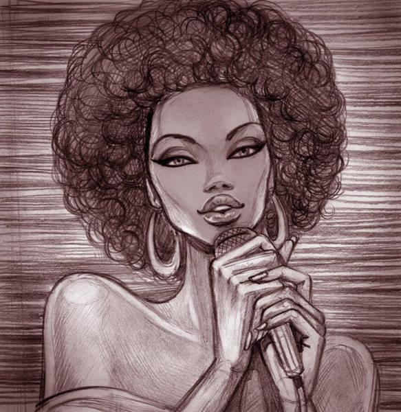 Pencil Drawing Digital Art - A Pencil Sketch Of A Female Singer With by Tatarnikova