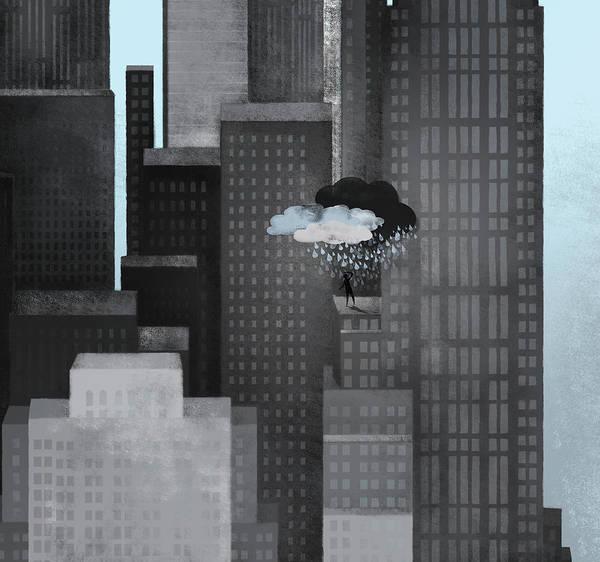 Exterior Digital Art - A Person On A Skyscraper Under A Storm by Jutta Kuss