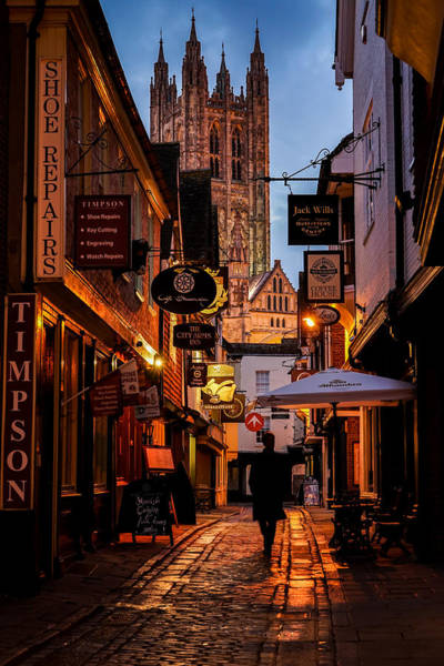 Wall Art - Photograph - A Person Walking On The Lonely Streets Of Canterbury On A Beautiful Night In England. by George Afostovremea