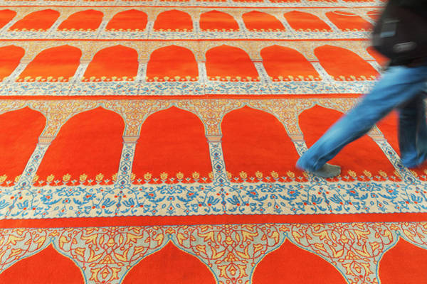 Suleymaniye Mosque Photograph - A Person Walking Over The Colourful by Keith Levit / Design Pics