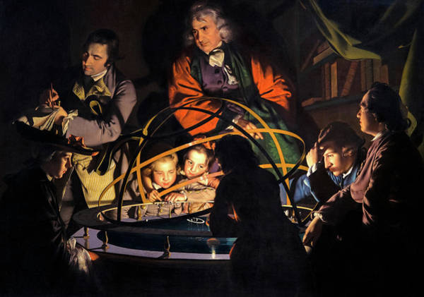 Wall Art - Painting - A Philosopher Giving That Lecture On The Orrery, In Which A Lamp Is Put In The Place Of The Sun,1766 by Joseph Wright of Derby