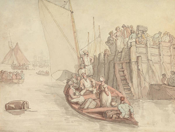 Pier Drawing - A Pier At Amsterdam by Thomas Rowlandson
