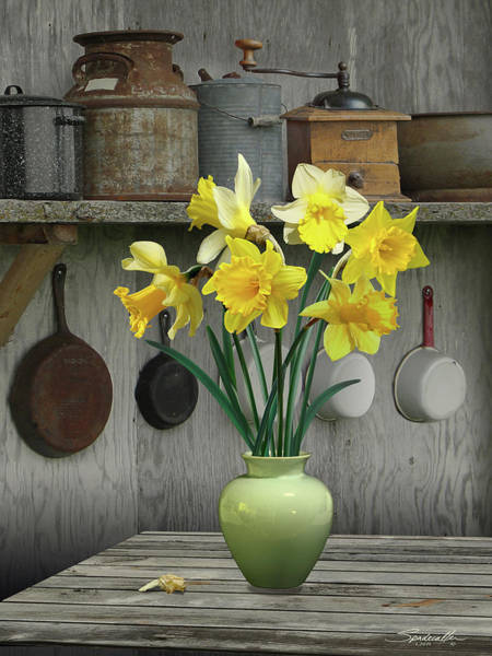 Wall Art - Digital Art - A Place For Daffodils by M Spadecaller