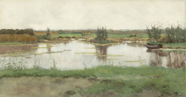 Drawing - A Pond In A Meadow by Nicolaas Bastert