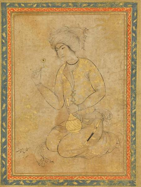 Wall Art - Painting - A Portrait Of A Kneeling Youth, Persia, Isfahan, Safavid, Early 17th Century by Celestial Images