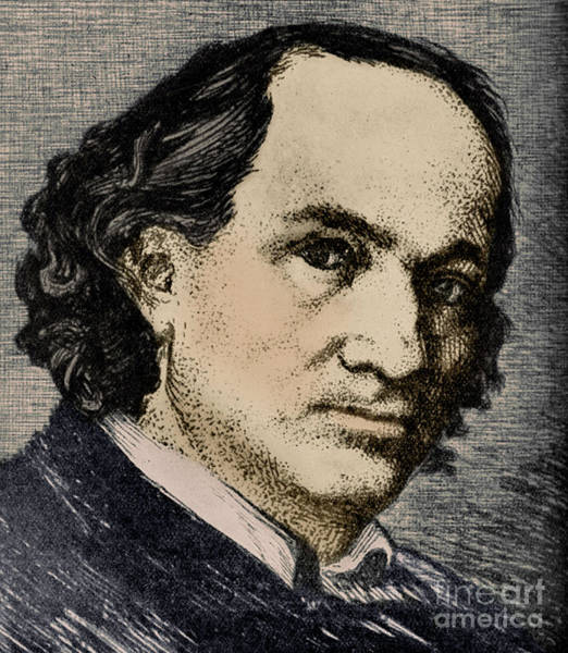 Wall Art - Drawing - A Portrait Of Charles Baudelaire, French Poet by French School
