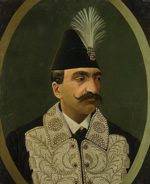 Wall Art - Painting - A Portrait Of Nasir Al-din Shah  R.1848-96  Persia, Qajar, 19th Century by Celestial Images