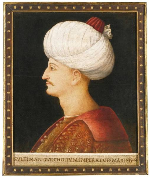 Wall Art - Painting - A Portrait Of Suleyman The Magnificent, By A Follower Of Gentile Bellini, Italy, Probably Venice, Ci by Celestial Images