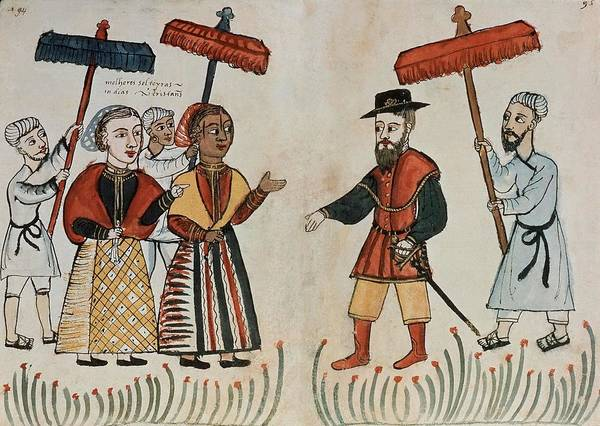 A Portuguese Merchant Being Greeted By His Indian Household. 16th Century. Vasco De Gama. Art Print