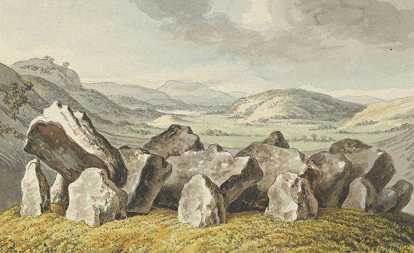 Drawing - A Prehistoric Stone Circle On A Mound, An Extensive Landscape Beyond by Johann Heinrich Wilhelm Tischbein