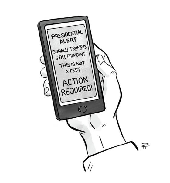 Social Media Drawing - A Presidential Alert by Pia Guerra