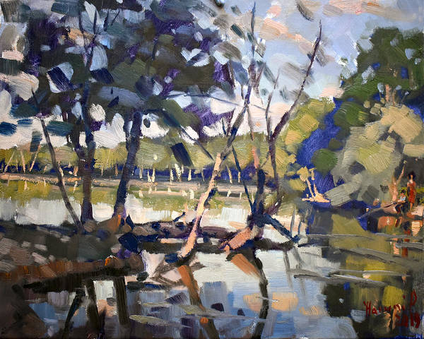 Wall Art - Painting - A Quiet Evening At Bond Lake Park by Ylli Haruni
