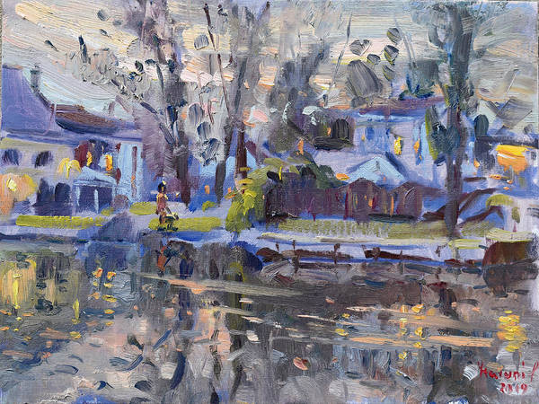 Lake House Painting - A Quiet Evening By The Water. by Ylli Haruni