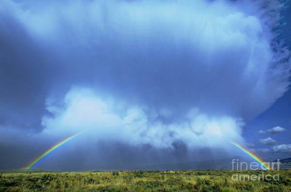 Photograph - A Rainbow In Clouds Elk Refuge Grand Tetons Np Wyoming by Dave Welling
