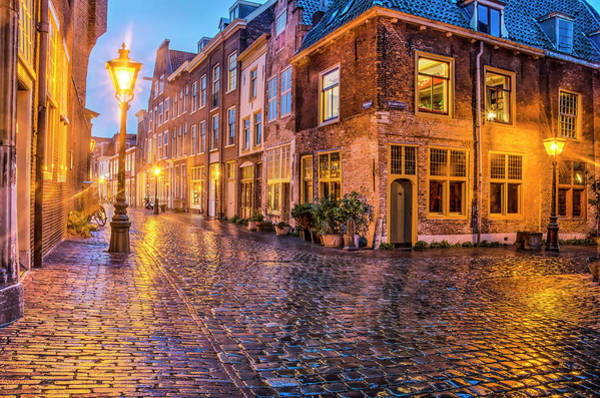 Photograph - A Rainy Night In Leiden by Frans Blok