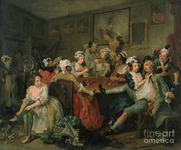Tavern Painting - A Rake's Progress IIi  The Rake At The Rose Tavern by William Hogarth