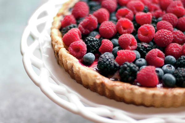 Patio Photograph - A Raspberry And Blackberry Tart by Sf foodphoto