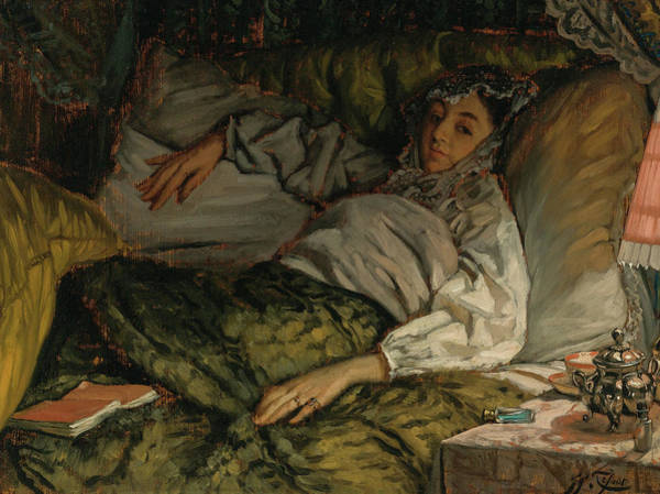 Wall Art - Painting - A Reclining Lady by James Tissot