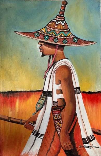 Painting - A Responsible Young Man by Olumide Egunlae