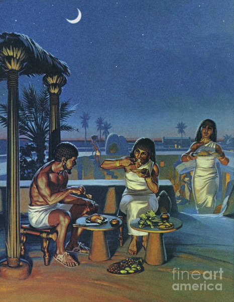 Wall Art - Painting - A Rich Egyptian Landowner Eating Dinner On The Roof Of His Home by Angus McBride