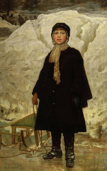 Wall Art - Painting - Winter, Portrait Of A Child, 1879 by Eastman Johnson