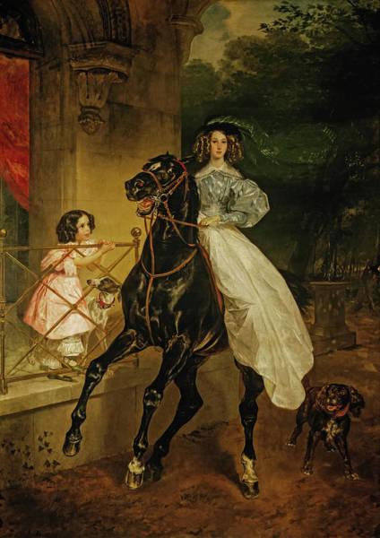 Wall Art - Painting - A Rider, Giovannina And Amazilia, 1832 by Karl Bryullov