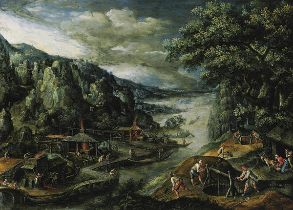Painting - A River Valley With Iron Mining Scenes by Marten van Valckenborch
